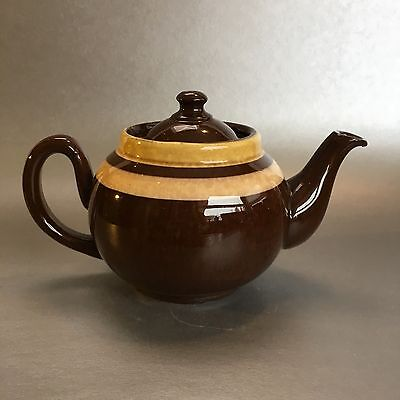 ALB Bloor Striped Brown Betty 2 Cup Teapot Pottery England Antique Vintage Chip