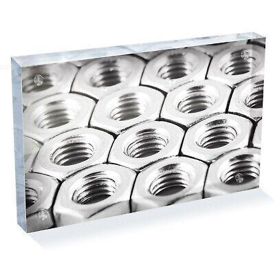 """Mechanics Metal Work Nut Bolt Photo Block 6 x 4"""" - Desk Art Office Gift #16070"""