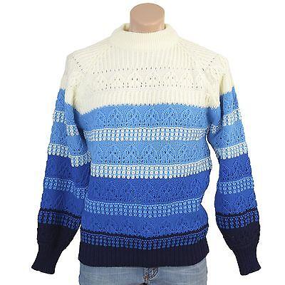 8fd86e1637f Vintage 70s Sweater Blue Crochet Knit Stripes Mens-M