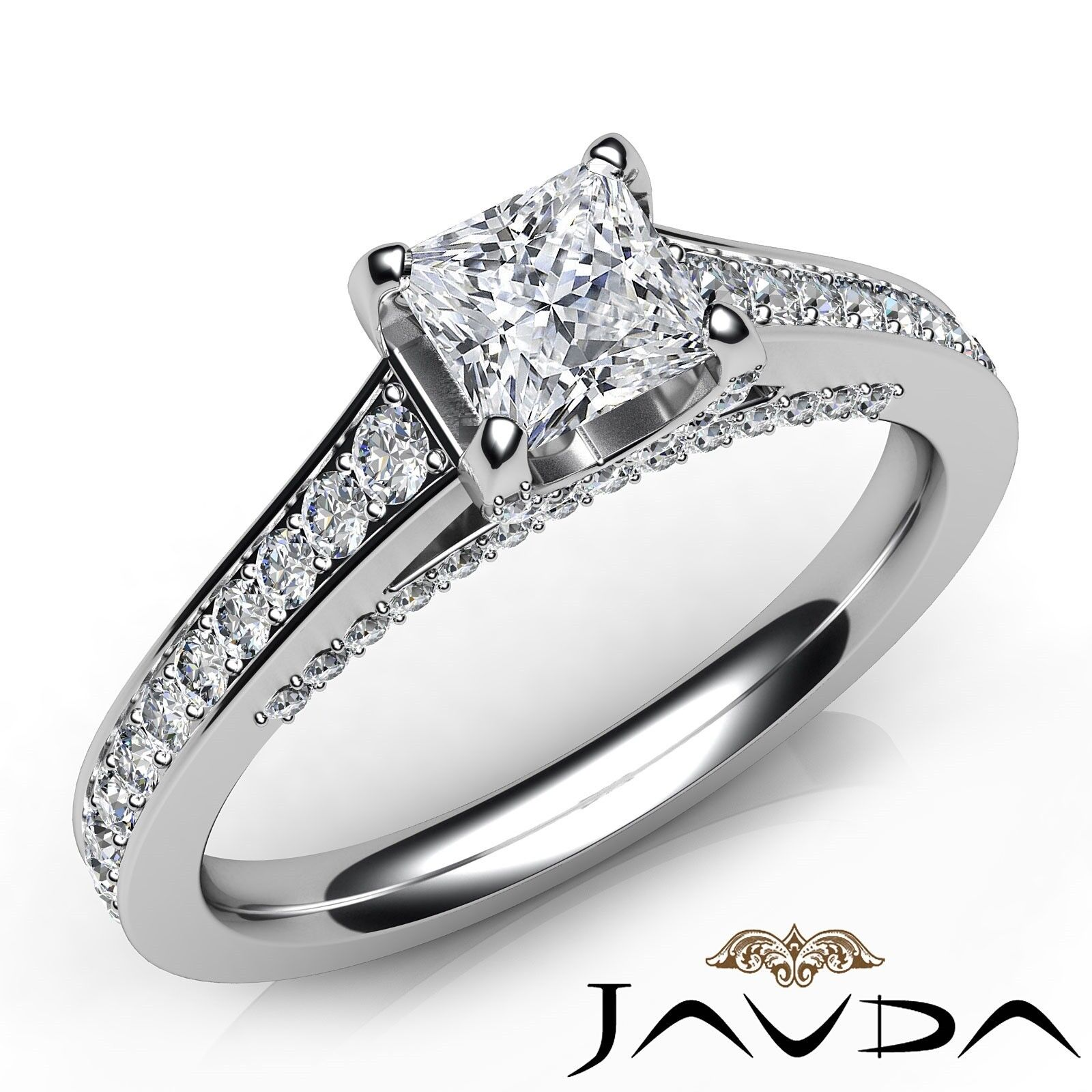 1.46ctw Tapered Pave Princess Diamond Engagement Ring GIA G-VS2 White Gold Rings