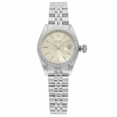 Rolex Date Steel Engine Turned Bezel Silver Dial Automatic Ladies Watch 69240