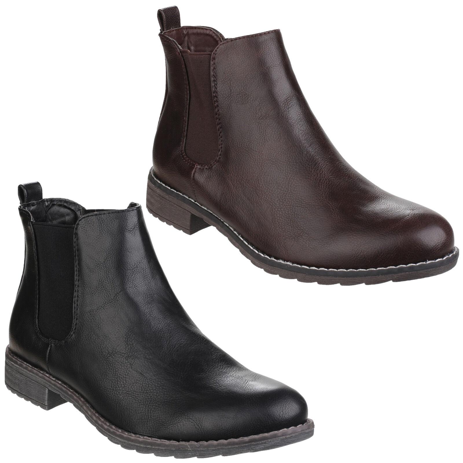 52c6defb80e17 Divaz Kelly Ankle Chelsea Slip On Womens Heel Fashion Derby Boots Shoes  UK3-8