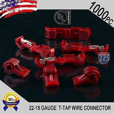 1000 Pack T-taps Red 22-18 Awg Gauge Quick Slide Connectors Car Audio Alarm Ul