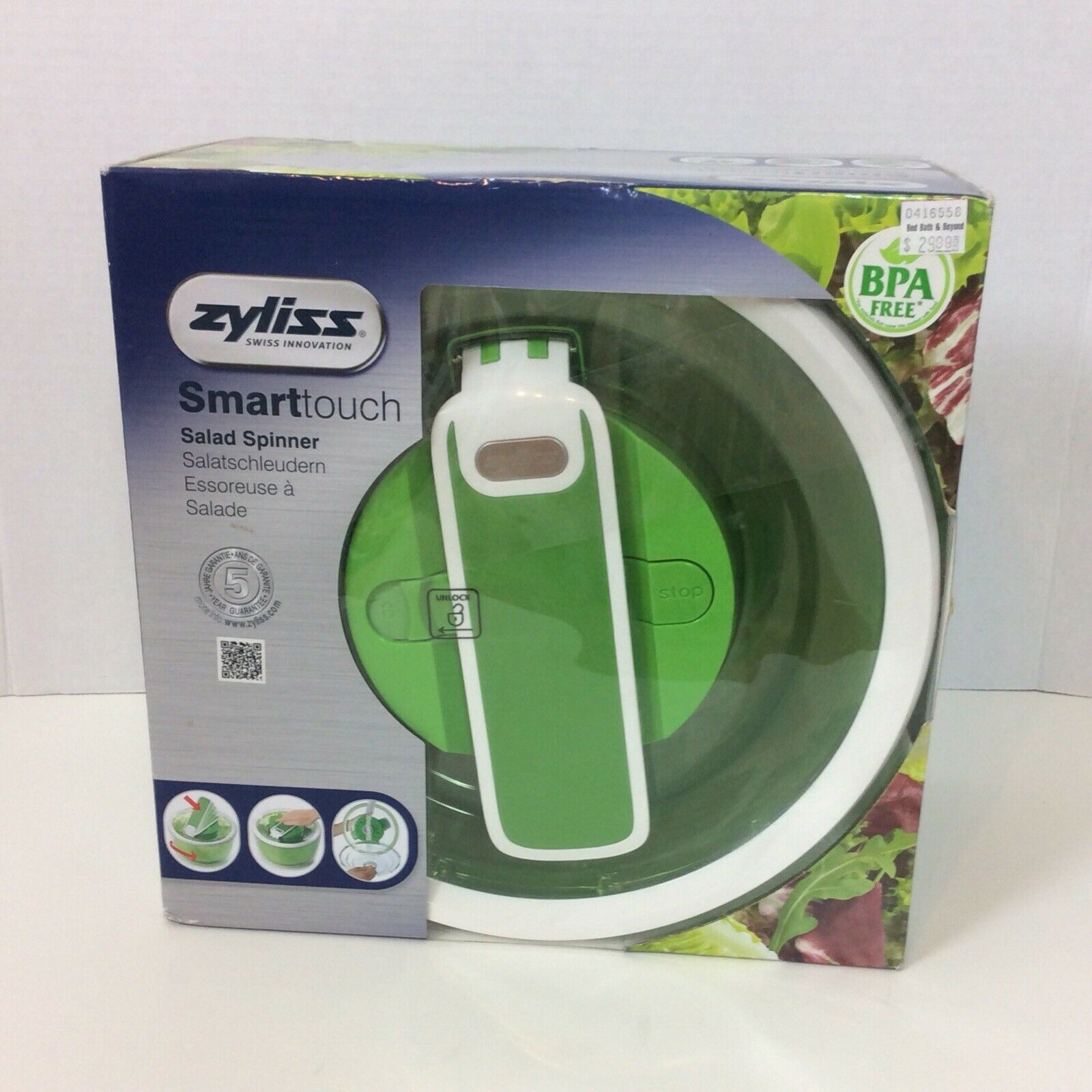 ZYLISS Swift Dry Salad Spinner BPA Free Smarttouch Dishwashe