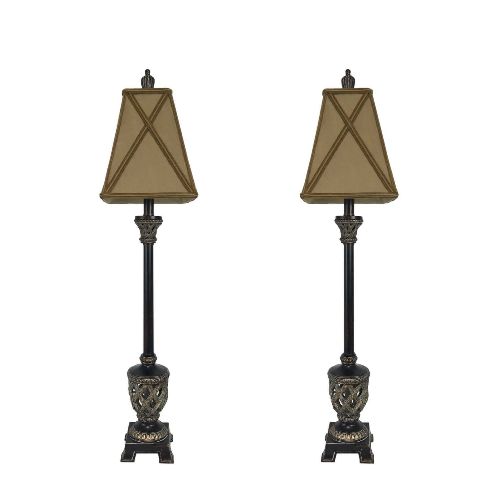 """Set of 2- 35"""" Traditional Bronze Buffet Lamps Table Lamp Set"""