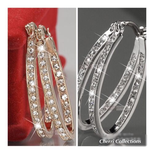 Cubic Zirconia CZ In & Out Oval Hoop Earrings 925 Silver or Gold Plated E47 Earrings