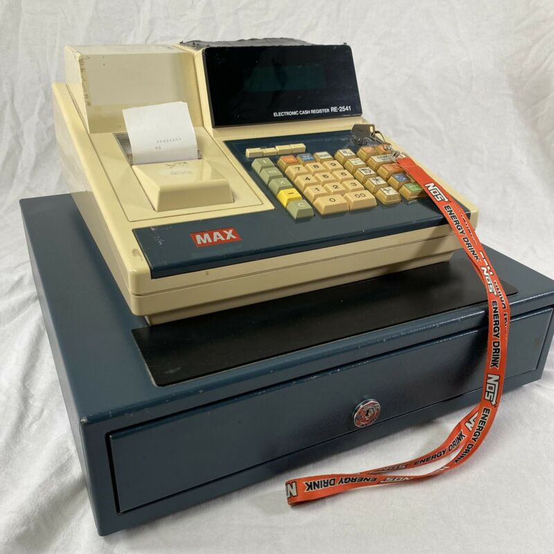 Vintage 80's MAX electronic cash register RE-2541 Beige Tested Working W/ Key