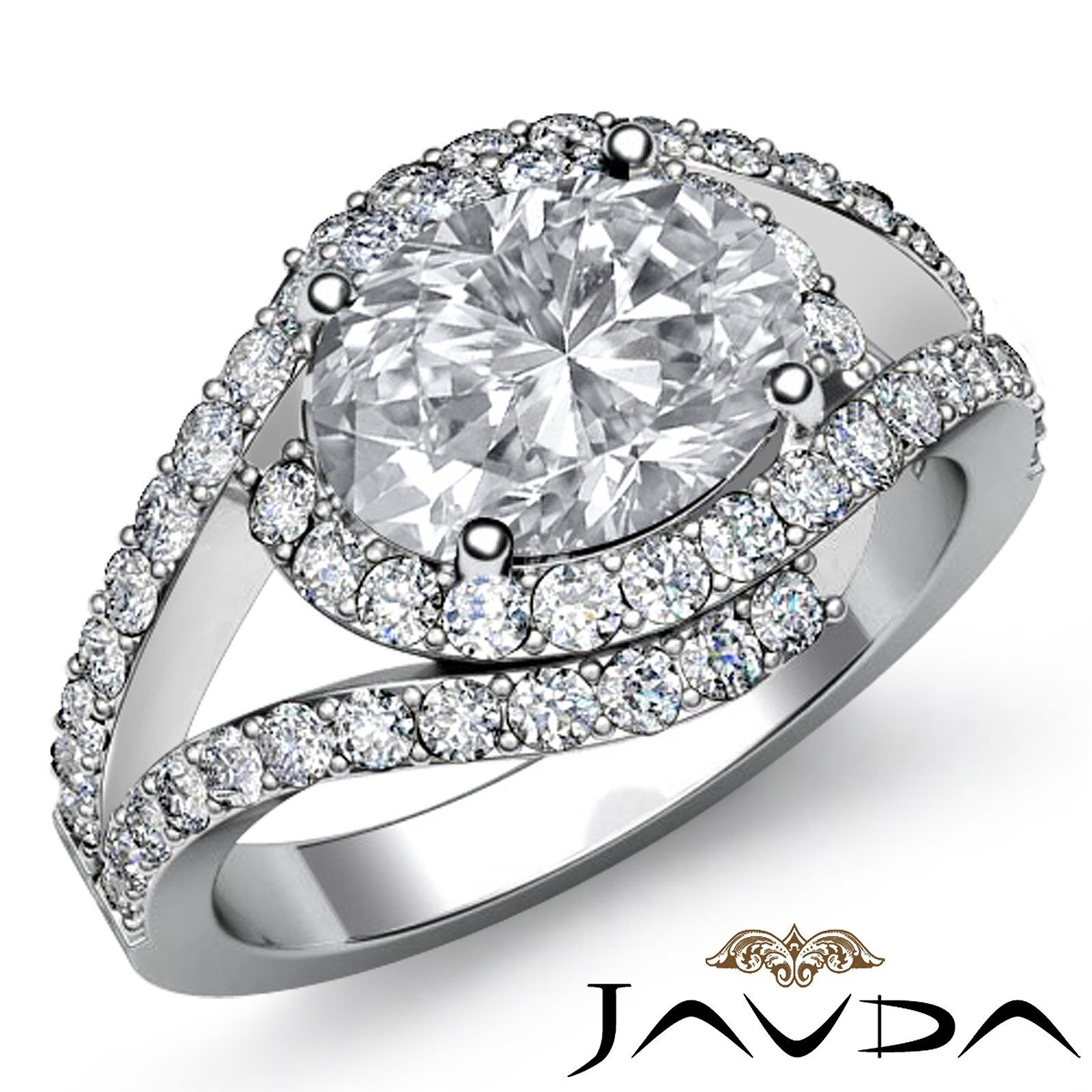 Bypass Design Prong Setting Oval Diamond Engagement Gold Ring GIA I VS2 2.13Ct