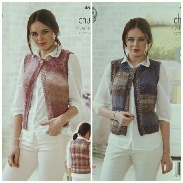 KNITTING PATTERN Ladies EASY KNIT Sleeveless Waistcoat Chunky King Cole 4636