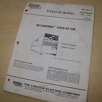 Lincoln 250acdc 7kw Welder Owner Operator Operation Maintenance Manual Book