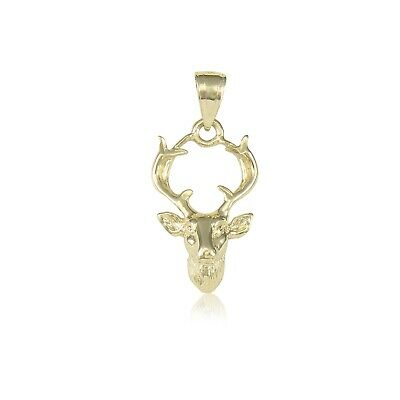 14K Solid Yellow Gold Deer Head Pendant - Buck Male Necklace Charm Men Women