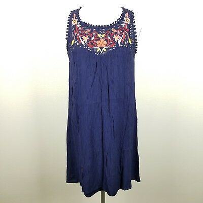 Rayon Crepe Dress - Xhilaration Navy Blue Crepe Dress Embroidered Crochet Sleeveless Rayon Womens M