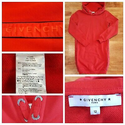 Givenchy Pullover Long Sleeve Sweatshirt Hoodie Dress Red, Girls Sz 12