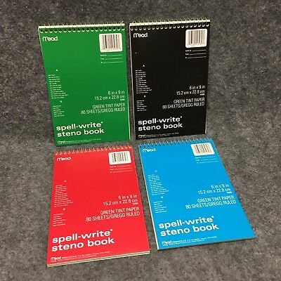 4 Mead 43080 Spell-write Steno Books 6 X 9 Spiral Bound Notebooks Green Tint