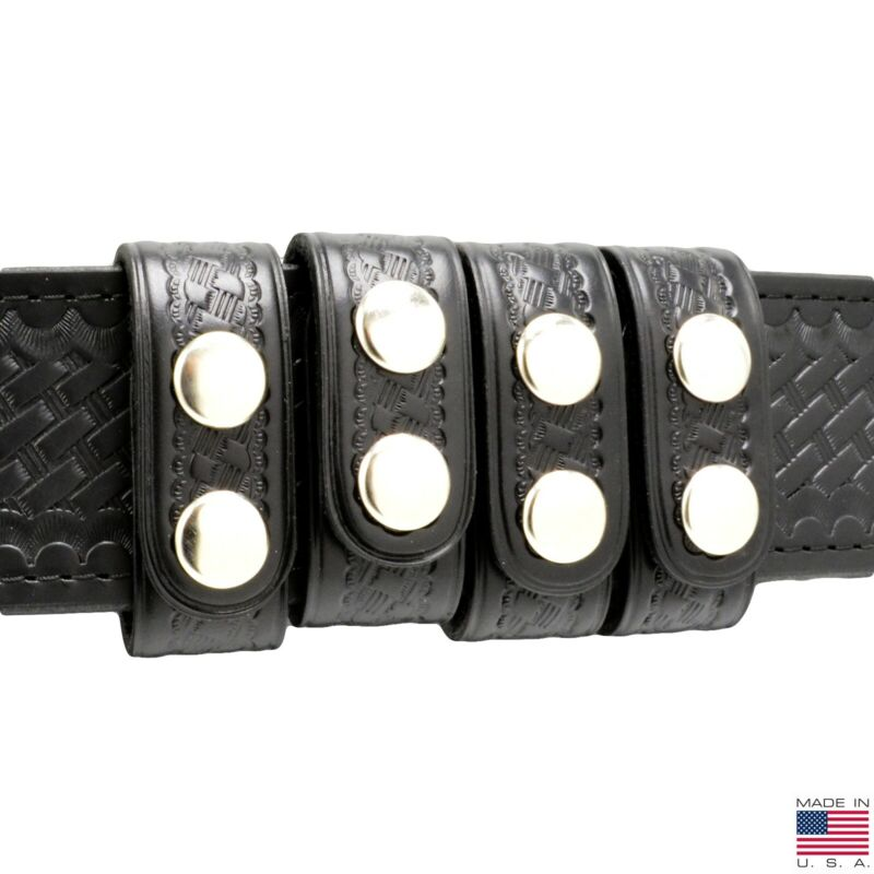 """Perfect Fit Duty Belt Keepers 1"""" Basketweave Leather Chrome Snap USA Made 4 Pack"""