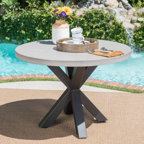 Refuggio Outdoor Modern Lightweight Concrete Circular Dining Table with Cross Ba Home & Garden