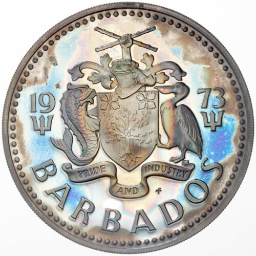 1973 BARBADOS 2 TWO DOLLARS SILVER PROOF COLOR UNC MONSTER NEON BLUE TONED (DR)