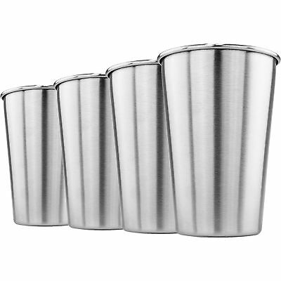 - Stainless Steel Pint Glass 16oz Metal Cup BPA Free Beer Soda Drink Tumbler Qty 4