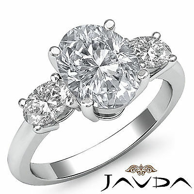 3 Stone Prong Setting Oval Cut Diamond Engagement Wedding Ring GIA H VS2 1.5 Ct