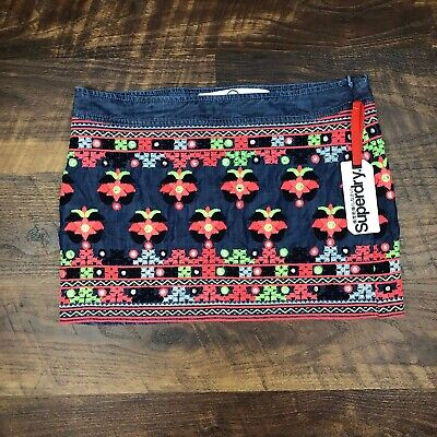 NWT SuperDry Colorful Embroidered Floral Denim Mini size S Women's Jeans Skirt