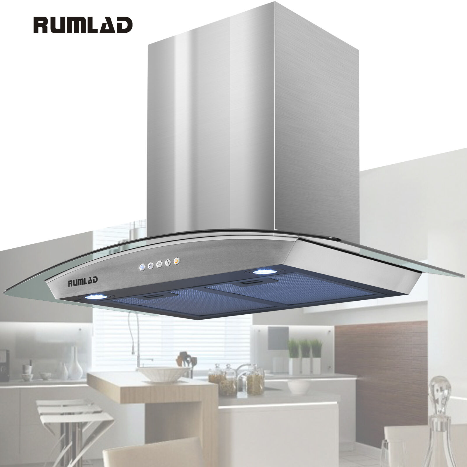 30 stainless steel wall mount range hood stove vent fan with led touch control ebay. Black Bedroom Furniture Sets. Home Design Ideas