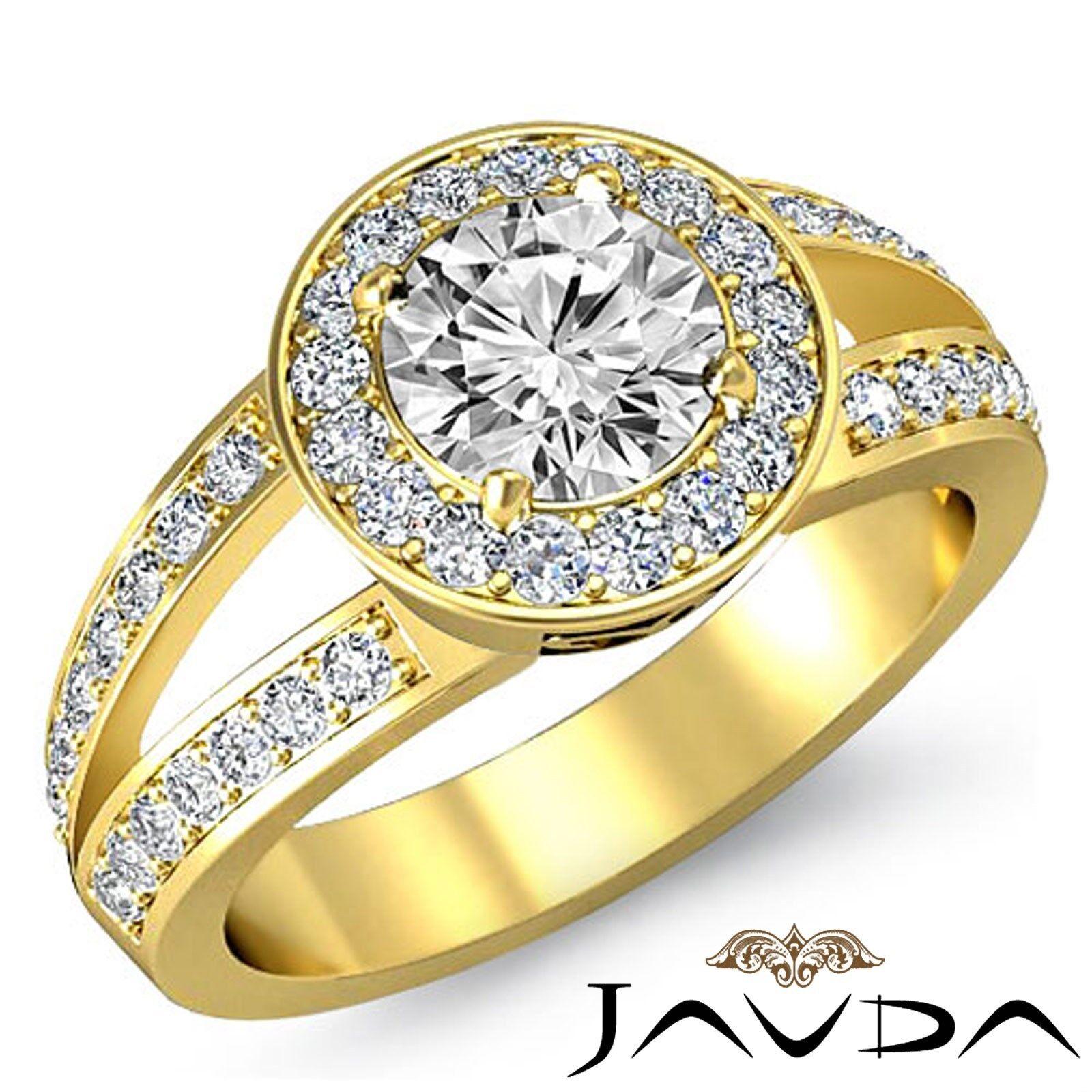 V Shaped Split Shank Round Diamond Engagement Pave Setting Ring GIA I VS2 2.05Ct