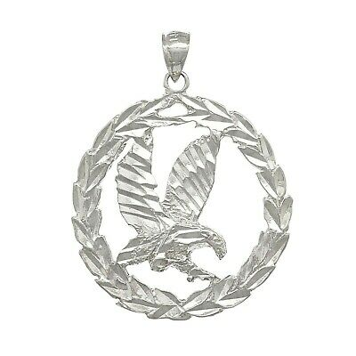 14k White Gold Solid Diamond Cut Flying Eagle in Wreath Charm Pendant 1.38