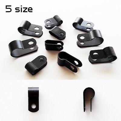 25100 Black Nylon Cable Clamp Clip Uv Resistant Wire Electrical Hose Loop Fixer