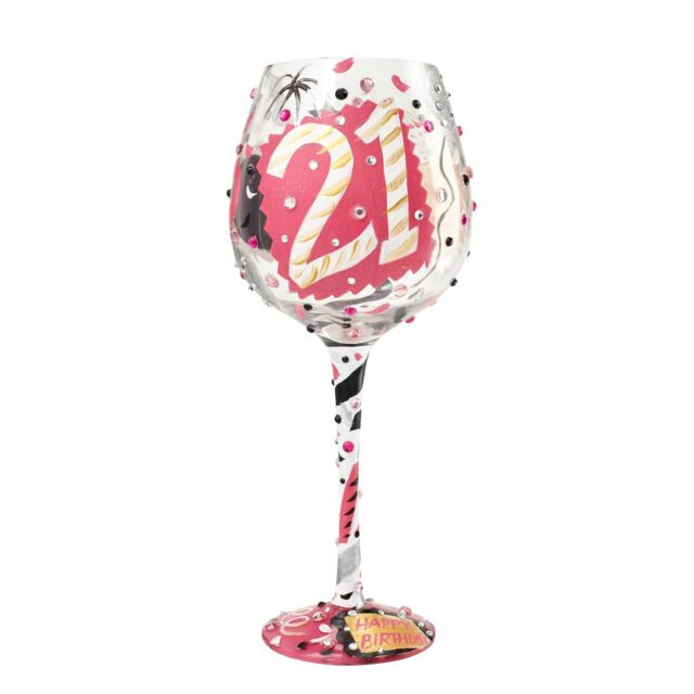Lolita Unique Hand Painted Super Bling Large 21st Birthday Wine Glass 21 Gift