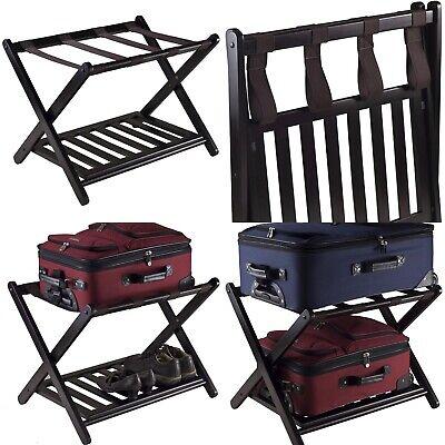 Rack Shelf Folding for Luggage Solid Wood Bedroom Color Dark Espresso Finish Color Finished Solid Wood