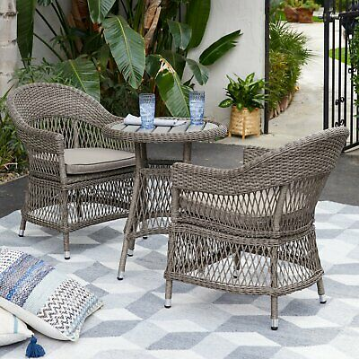 3 Piece Tan Resin Wicker Open Weave Patio Bistro Set Outdoor Home (3 Piece Resin Wicker)