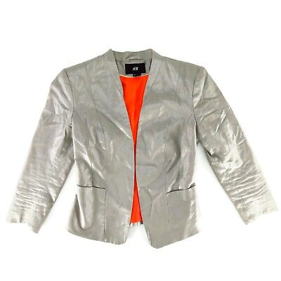 H&M Womens Silver Blazer Size 4 Metallic Linen Blend No Button Jacket Coat