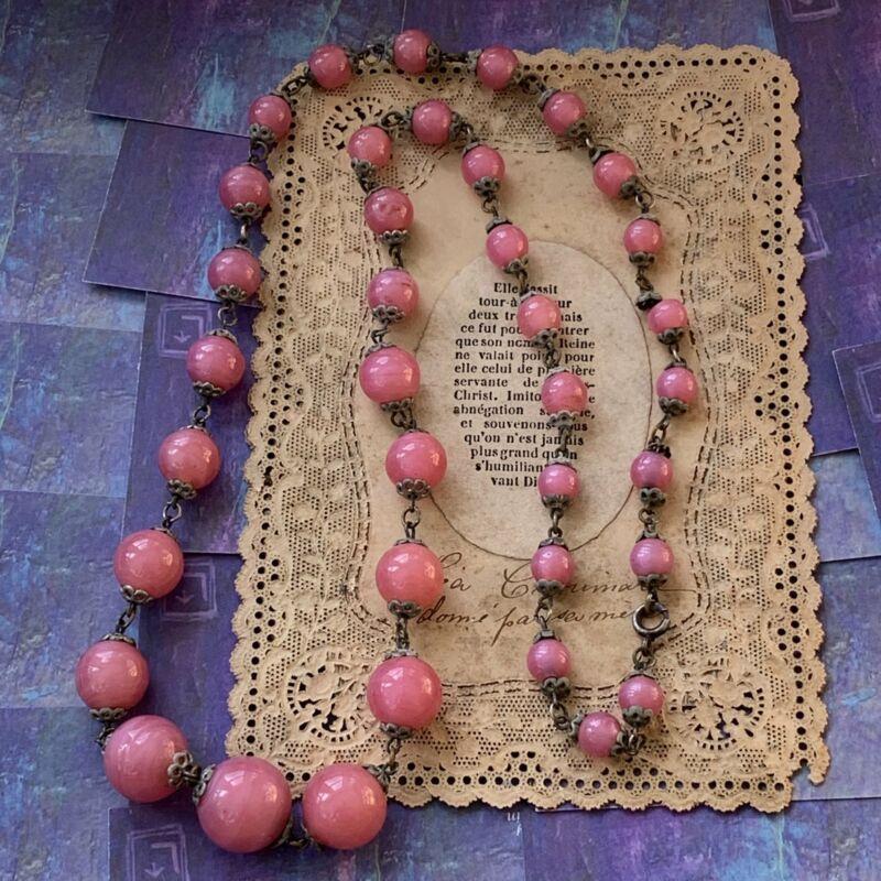 Art Deco Pink Art Glass Bead Necklace