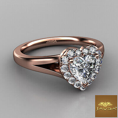 Halo French Pave Set Heart Diamond Engagement Split Shank Ring GIA G VS1 0.70 Ct 9