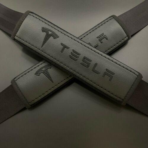 Black Seat Belt Shoulder Pads Covers black embroidery fits Tesla 2PCS