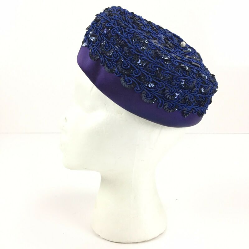 Vintage Sequined Fascinator Hat - Blue, Purple, Black