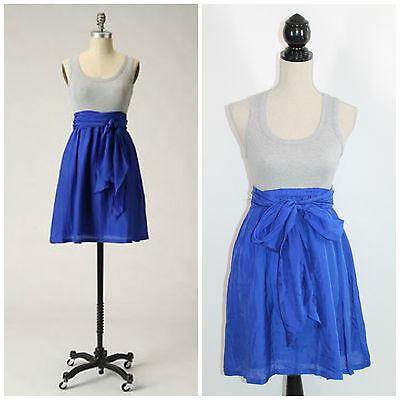Anthropologie One September Walk A Ways Gray Blue Silk Knit Combo Sundress Xs