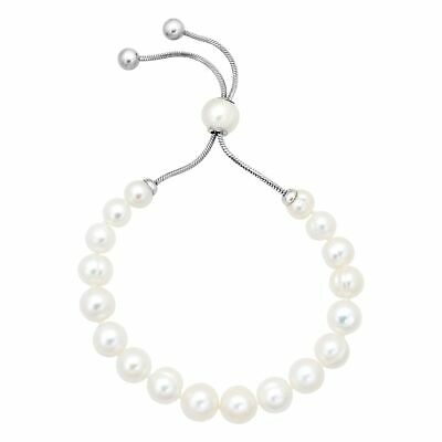Honora 7-10 mm Freshwater White Pearl Bolo Bracelet with Slider, Stainless Steel