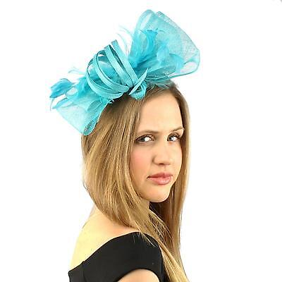 Handmade Feathers Ribbon Bow Headband Fascinator Millinery Cocktail Hat Turquois
