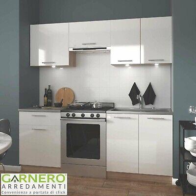 Cucina moderna completa bianca rovere MATRIX 200 cm lineare pensili design
