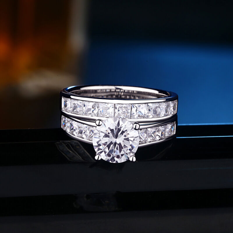 Women Engagement Wedding Ring Set 3ct Round White Aaaa Cz 925 Sterling Silver