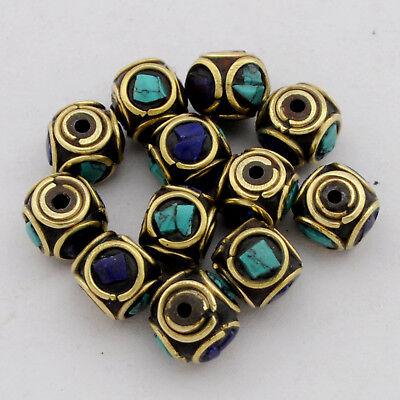 Turquoise Lapis Brass 12 Beads Tibetan Nepalese Handmade Tibet Nepal UB2571