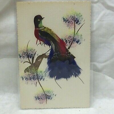 Vintage Postcard Watercolor Mixed Media Feather Bird Painting