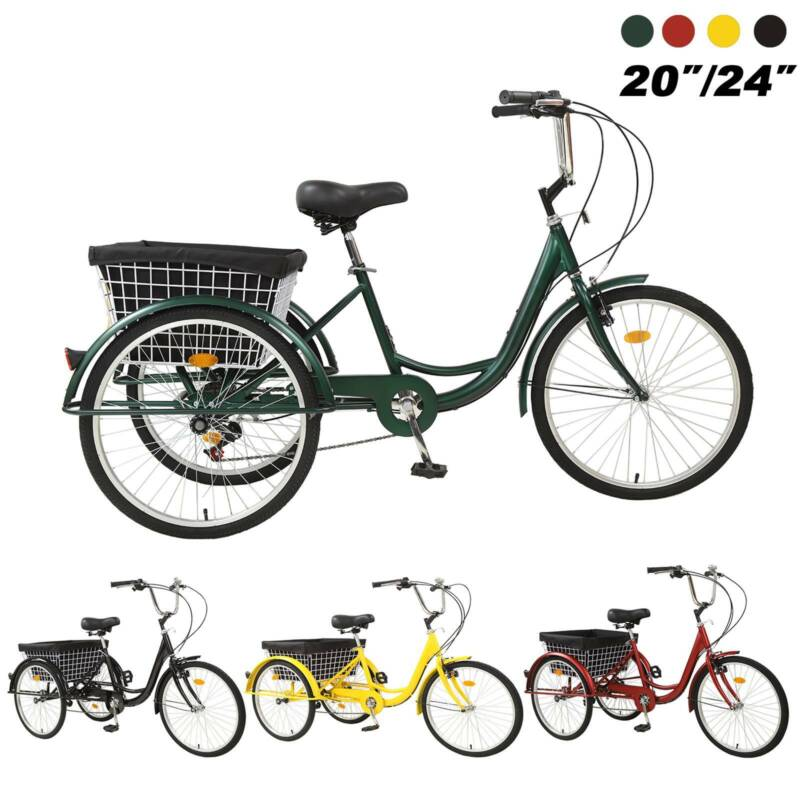 "Pro 20""/24""/26"" Adult 7-Speed Tricycle 3 Wheels Trike Bicycl"