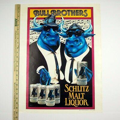 Schlitz BULL BROTHERS Original 1984 Poster 18x24 Stroh Brewery Detroit #89729