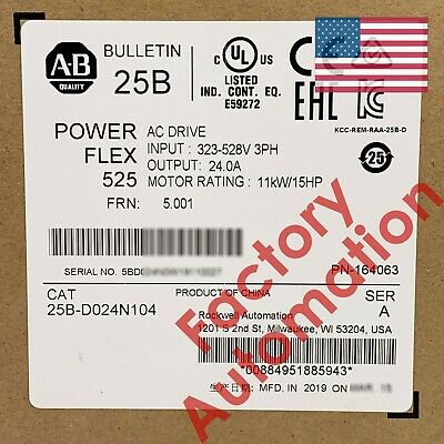 20192020 Us Stock Allen-bradley Powerflex 525 11kw 15hp Ac Drive 25b-d024n104