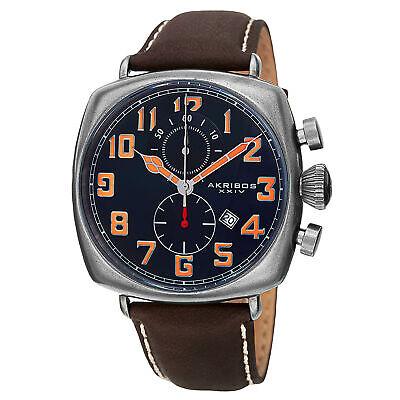Men's Akribos XXIV AK786BU Quartz Chronograp Blue Dial Brown Leather Strap Watch