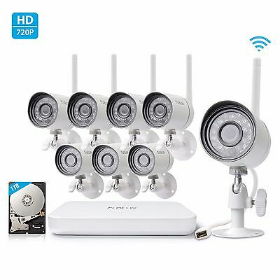 Funlux 8CH NVR 8 720p HD IP Network Wireless Home Security Camera System 1TB