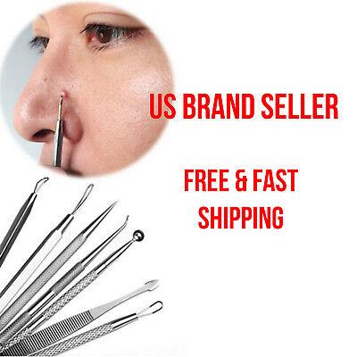 7 or 8 Pcs Blackhead Pimple Blemish Face Acne Extractor Remover Tool Set Kit