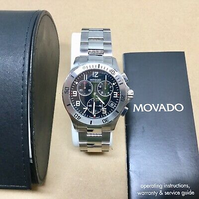 MOVADO Chronograph Model 84 R5 1890 Stainless Steel Water Resistant Wrist Watch
